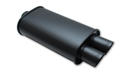 "Vibrant STREETPOWER FLAT BLACK Oval Muffler with Dual Tips (3"" inlet)"