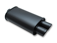 "Vibrant Performance - STREETPOWER FLAT BLACK Oval Muffler with Dual Tips (4"" inlet)"