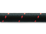 "Vibrant Performance - 20ft Roll of Black Red Nylon Braided Flex Hose; AN Size: -8; Hose ID: 0.44"";"