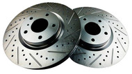 P2M Front Slotted/Crossed Drilled Rotors for Nissan 370Z/G37 '09+