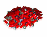 XS Power Batteries - 0 AWG Ring Terminal, Crimp, 8.5mm Screw Hole, Nickel Finish with Red Boot, 10 Pack