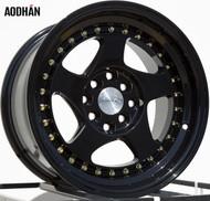 AODHAN Wheels AH01 – 15x8 +20 4x100/114.3 Full Black ( Gold Rivet)