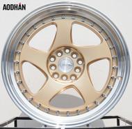AODHAN Wheels AH01 – 15x8 +20 4x100/114.3 Gold Machined Lip