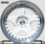 AODHAN Wheels AH01 – 15x8 +20 4x100/114.3 White Machined Lip