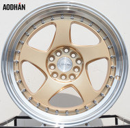 AODHAN Wheels AH01 – 17x9 +25 4x100/114.3 Gold Machined Lip