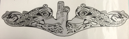 """14"""" silver dolphin decal"""