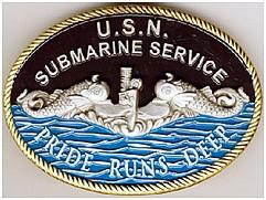 BELT BUCKLE U.S.N. SUBMARINE SERVICE SILVER DOLPHINS PRIDE RUNS DEEP exclusive design copyright submarineshop.com