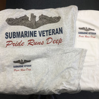 Submarine Veteran Pride Runs Deep t-shirt available with or without pockets.