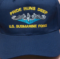 Pride Runs Deep- Submarine Force Ballcaps with silver or gold dolphins