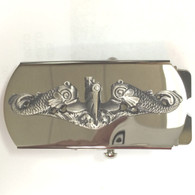 Belt Buckle, Submarine Enlisted, Silver Dolphins on Silver Buckle