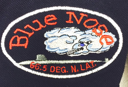 Blue nose embroidery example