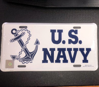 License plate, U.S. NAVY stamped metal with white background  Navy Blue design
