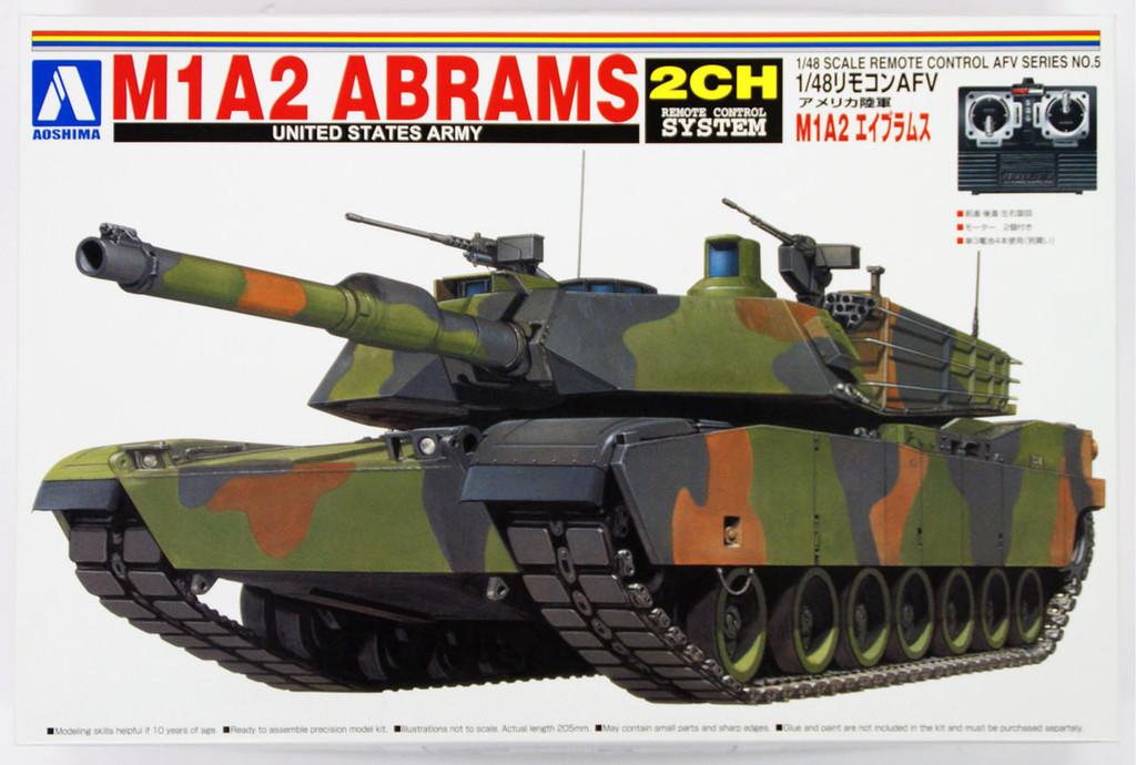 Aoshima 00809 RC AFV Series No. 5 US Army M1A2 Abrams 1/48 Scale Kit