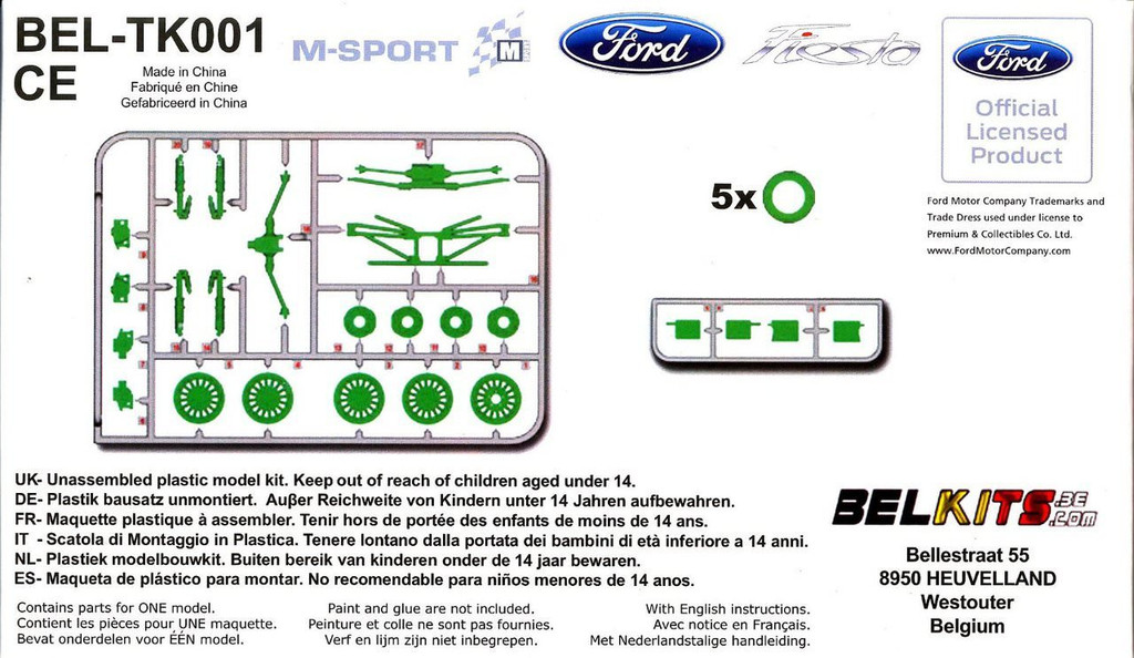 Aoshima (BELKitS) 84335 Option Parts Set for Ford Fiesta S2000 & RC WRC (Aoshima 84304, 84311) 1/24 Scale Kit