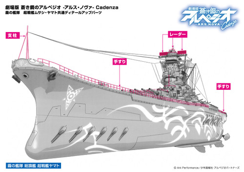 Aoshima 51931 ARPEGGIO OF BLUE STEEL Detail Up Parts for Battle Ship Musashi / Yamato 1/700