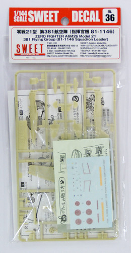 Sweet Decal No.36 Zero Fighter A6M2b Model 21 381 Flying Group 1/144 Scale Kit