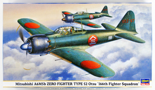 """Hasegawa 09428 Mitsubishi A6M5b Zero Fighter Type 52 Otsu """"166th Fighter Squadron"""" 1/48 scale kit"""