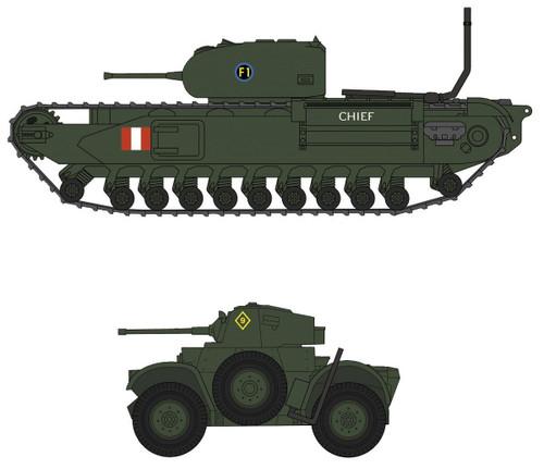 """Hasegawa 30043 Churchill Mk.I/II & Daimler Mk.II """"Dieppe Raid"""" 1/72 scale kit"""