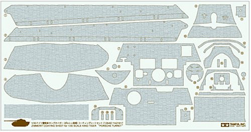 Tamiya 12649 Zimmerit Coating Sheet King Tiger Porsche Turret 1/35 Scale Kit