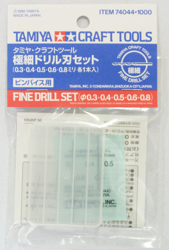 Tamiya 74044 Craft Tools - Fine Drill Set - 0.3, 0.4, 0.5, 0.6, 0.8mm