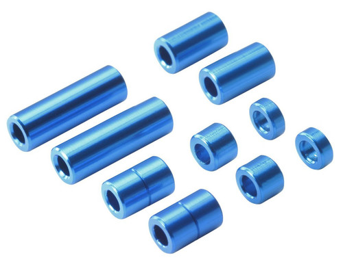 Tamiya 95310 Mini 4WD Aluminum Spacer Set Blue 12/6.7/6/3/1.5mm (2pcs/ea)