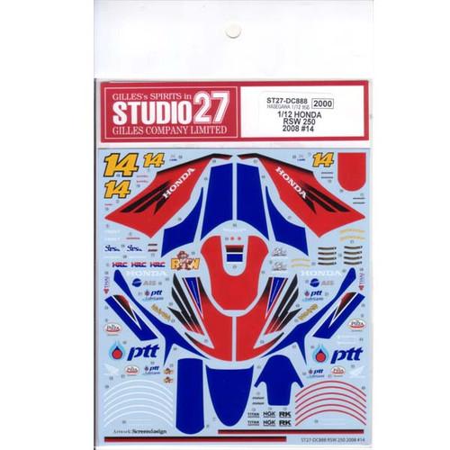 Studio27 ST27-DC888 Honda RSW 250 2008 #14 Decal for Hasegawa 1/12