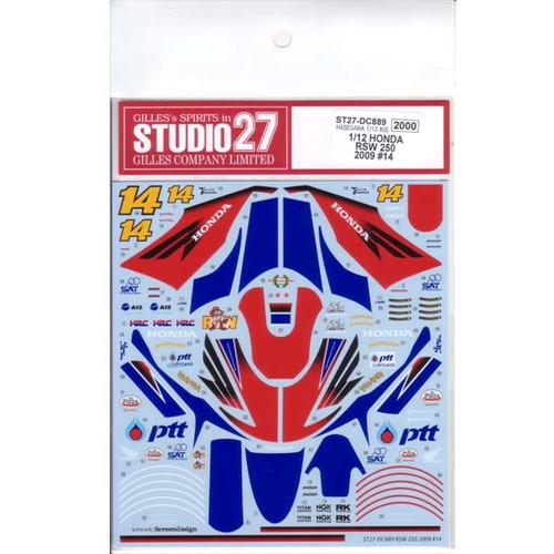 Studio27 ST27-DC889 Honda RSW 250 2009 #14 Decal for Hasegawa 1/12