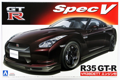 Aoshima 46845 Nissan GT-R R35 Spec V with engine 1/24 scale kit