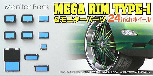 Aoshima 48061 MEGA RIM TYPE-1 24 inch Wheel & Monitor Parts Set 1/24 Scale Kit