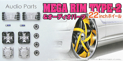 Aoshima 48078 MEGA RIM TYPE-2 22 inch Wheel & Audio Parts Set 1/24 Scale Kit
