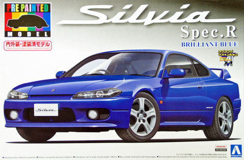 Aoshima 08621 S15 Nissan Silvia Spec.R Brilliant Blue 1/24 Scale Kit (Pre-painted Model)