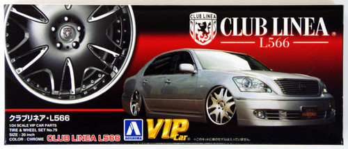 Aoshima 43073 CLUB LINEA L566 20 inch Wheel & Tire Set 1/24 Scale Kit