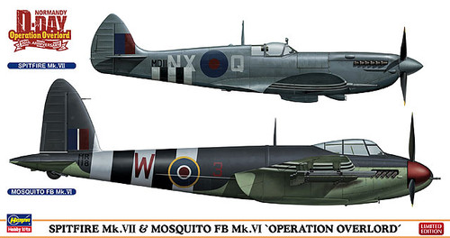 Hasegawa 02096 Spitfire Mk. VII & Mosquito FB Mk. VI Operation Overlord 1/72 Scale Kit