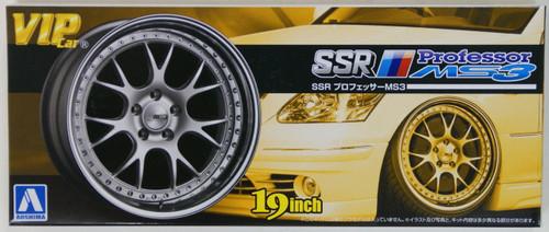 Aoshima 09208 VIP Car Tire & Wheel Set SSR Professor MS3 19 inch 1/24 scale kit