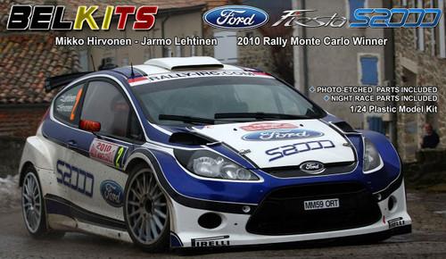 Aoshima (BELKitS) 84304 Ford Fiesta S2000 2010 Rally Monte Carlo Winner 1/24 Scale Kit