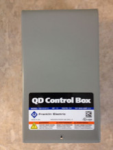 "Franklin QD CONTROL BOX - the horsepower and voltage is printed just below ""QD Control Box"""
