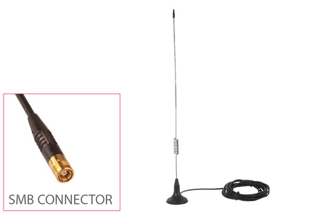 JustCONNECT's roof mount magnetic DAB antenna showing SMB connector