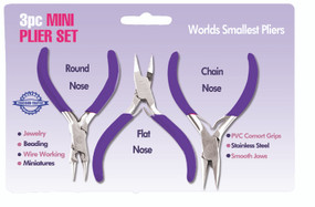 Contains a round nose, flat nose and a chain nose.  World's smallest pliers!