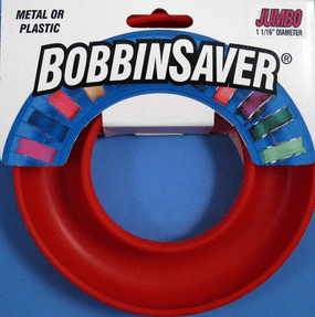 "The Jumbo BobbinSaver has the same great features you expect with the BobbinSaver, but can hold larger bobbins.  We have expanded the inner channel to hold bobbins with 1 1/16"" diameter.  This size accomodates Bernina 1 & 8 series bobbins and the Singer #2 bobbin used in the Touch & Sew machines."