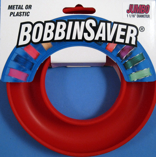 """The Jumbo BobbinSaver has the same great features you expect with the BobbinSaver, but can hold larger bobbins.  We have expanded the inner channel to hold bobbins with 1 1/16"""" diameter.  This size accomodates Bernina 1 & 8 series bobbins and the Singer #2 bobbin used in the Touch & Sew machines."""