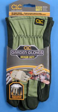Top grain pigskin leather palm gloves. Medium duty.  Reinforced finger tips.  Shirred wrist.