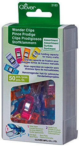 These Clover 3183 assorted color Wonder Clips (Rainbow 50 pack) are ideal for seam binding and many other crafts. They are easy to see and find if dropped on the floor. They open wide to accommodate several layers of fabric. Because they eliminate pinning, they are perfect for Vinyl's and laminates.