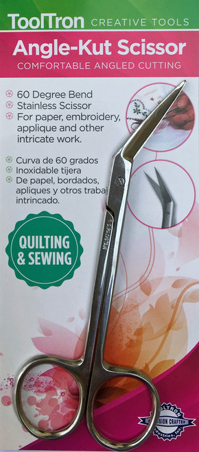 Comfortable angled cutting.  60 degree bend, stainless scissor.  For paper, embroidery, applique and other intricate work.