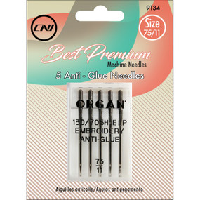 The Anti-Glue needles have a slight ball point for use on all types of fabric. Industry unique coating allows extensive sewing and embroidery using spray adhesives and sticky back stabilizers without danger of fouling the needle groove and shaft.