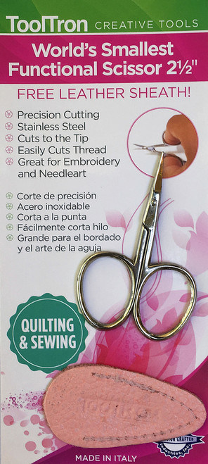 Precision cutting, stainless, steel, cuts to the tip, easily cuts thread, great for embroidery and needleart. Free leather sheath included.  Made in Italy.