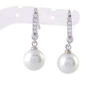 Pearl Earrings with Crystal Accent