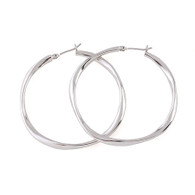 Large Silver Smooth Hoop Earrings