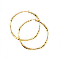 Gold Smooth Hoop Earrings - Large