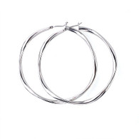 Silver Smooth Hoop Earrings