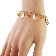 Crystal and Gold Leaf Bracelet